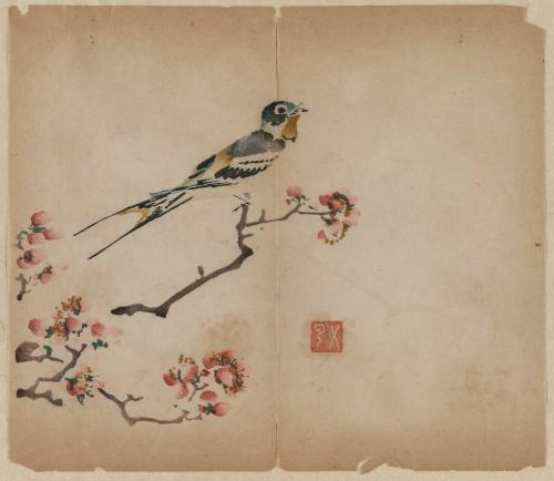 Swallow on Flowering Peach Branch