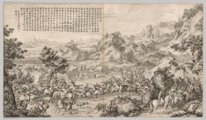 Attacking the Camp at Gatan Ola: from Battle Scenes of the Quelling of Rebellions in the Western Region, with Imperial Poems