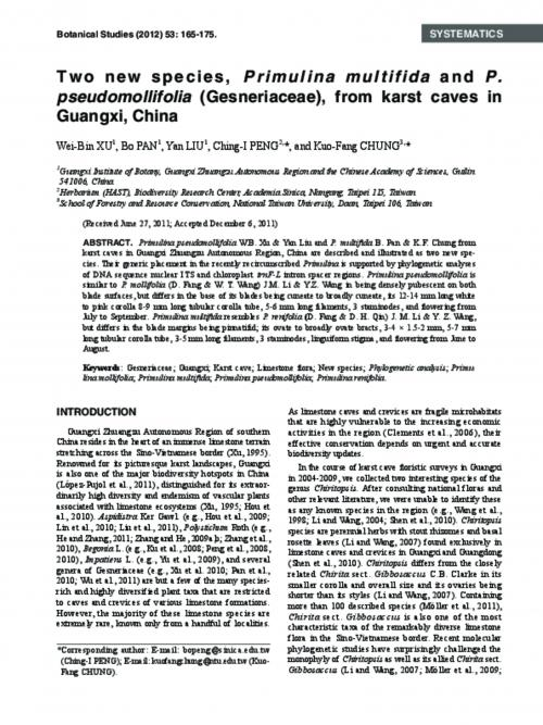 Two new species, Primulina multifida and P. pseudomollifolia (Gesneriaceae), from karst caves in Guangxi, China.