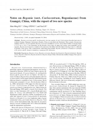 Notes on Begonia (sect. Coelocentrum, Begoniaceae) from Guangxi, China, with the report of two new species.