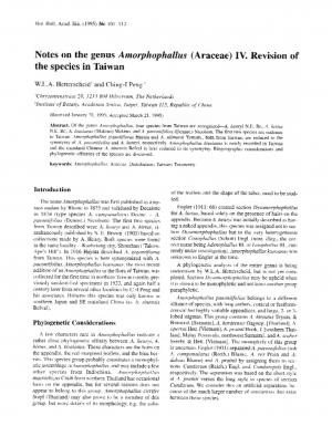 Notes on the genus Amorphophallus (Araceae) IV. Revision of the species in Taiwan.